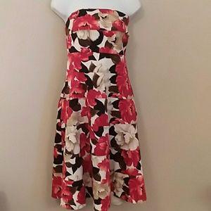 WHBM red & black floral print strapless dress